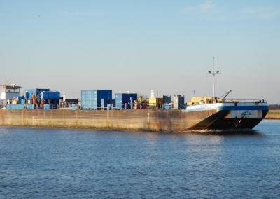 The MEA Innovator heading for the shipyard